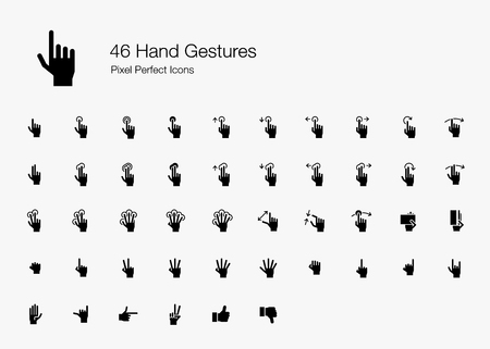 46 Hand Gestures and Finger Actions Pixel Perfect Icons (Filled Style). Vector icons of hand and finger pointing, pressing, sliding, and holding when using touchscreen on smartphone or tablet device.