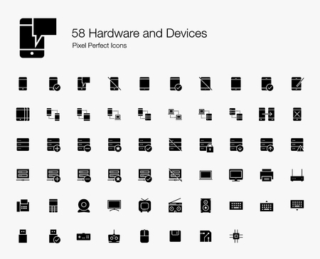 58 Hardware and Devices Pixel Perfect Icons (Filled Style). Vector icons of smartphone, tablet, server, computer, cloud computing, and technology devices. Çizim