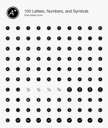 100 Letters, Numbers, and Symbols Pixel Perfect Icons (Filled Style). Vector icons of basic text, alphabet, and numbering in circle.