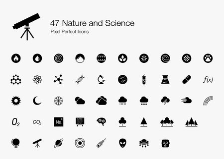 47 Nature and Science Pixel Perfect Icons (Filled Style). Vector icons for nature, science, space, biology, and medical research.