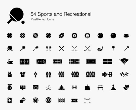 54 Sports and Recreational Pixel Perfect Icons (Filled Style). Vector icons set of sports, fitness, games, and leisure activities.