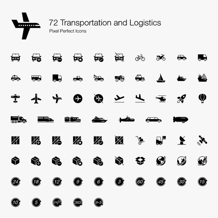72 Transportation and Logistic Pixel Perfect Icons (Filled Style). Vector icons set for ground, air, and water vehicles and transports. Logistic  industry symbols for box, parcel, package, and global.