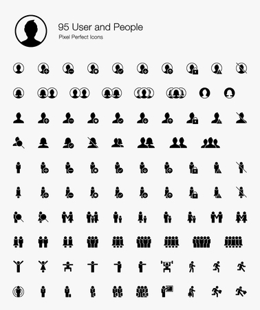 95 User and People Pixel Perfect Icons (Filled Style). Vector icons for user, avatar, man, people, profile, and human.