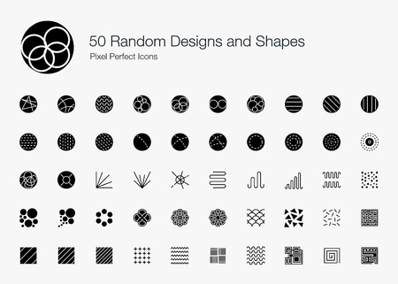 50 Random Designs and Shapes Pixel Perfect Icons (Filled Style). Vector icon set of random round circle pattern,  abstract lines, and shapes.