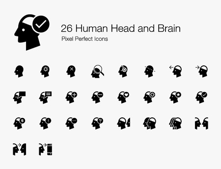 26 Human Head and Brain Pixel Perfect Icons (Filled Style). Vector icon set of person mind, mental, thinking, interaction, and actions.