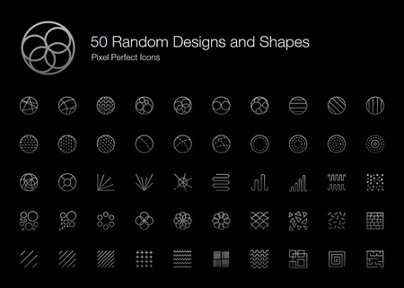 50 Random Designs and Shapes Pixel Perfect Icons (Line Style Shadow Edition). Vector icon set of random round circle pattern,  abstract lines, and shapes.