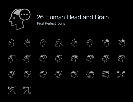 26 Human Head and Brain Pixel Perfect Icons (Line Style Shadow Edition). Vector icon set of person mind, mental, thinking, interaction, and actions. Çizim