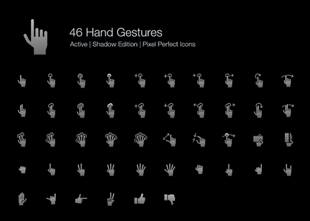 46 Hand Gestures and Finger Actions Pixel Perfect Icons (Filled Style Shadow Edition). Vector icons of hand and finger pointing, pressing, sliding, and holding when using touchscreen on smartphone or