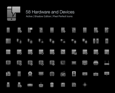 58 Hardware and Devices Pixel Perfect Icons (Filled Style Shadow Edition). Vector icons of smartphone, tablet, server, computer, cloud computing, and technology devices.