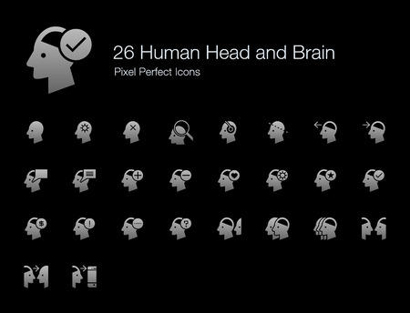 26 Human Head and Brain Pixel Perfect Icons (Filled Style Shadow Edition). Vector icon set of person mind, mental, thinking, interaction, and actions. Çizim
