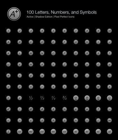 100 Letters, Numbers, and Symbols Pixel Perfect Icons (Filled Style Shadow Edition). Vector icons of basic text, alphabet, and numbering in circle.