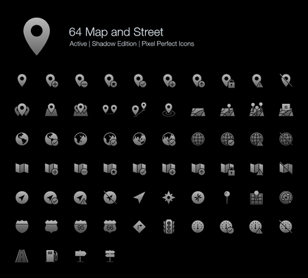 64 Map and Street Pixel Perfect Icons (Filled Style Shadow Edition). Vector icons for map, directions, and GPS. Çizim