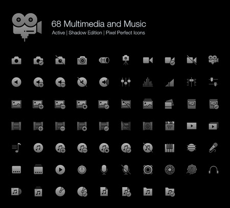 68 Multimedia and Music Pixel Perfect Icons (Filled Style Shadow Edition). Vector icons of camera, audio, photo, video, and musics.