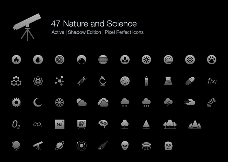 47 Nature and Science Pixel Perfect Icons (Filled Style Shadow Edition). Vector icons for nature, science, space, biology, and medical research. Çizim