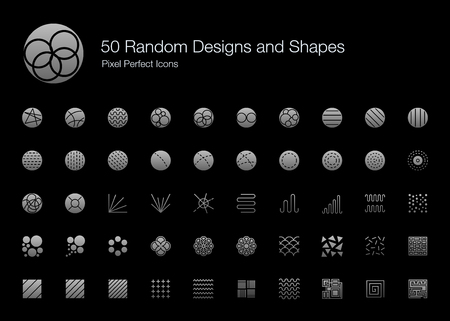 50 Random Designs and Shapes Pixel Perfect Icons (Filled Style Shadow Edition). Vector icon set of random round circle pattern,  abstract lines, and shapes. Çizim