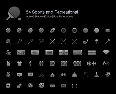 54 Sports and Recreational Pixel Perfect Icons (Filled Style Shadow Edition). Vector icons set of sports, fitness, games, and leisure activities. Vectores