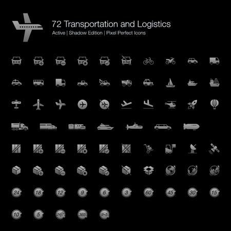 72 Transportation and Logistic Pixel Perfect Icons (Filled Style Shadow Edition). Vector icons set for ground, air, and water vehicles and transports. Logistic  industry symbols for box, parcel, package, and global.