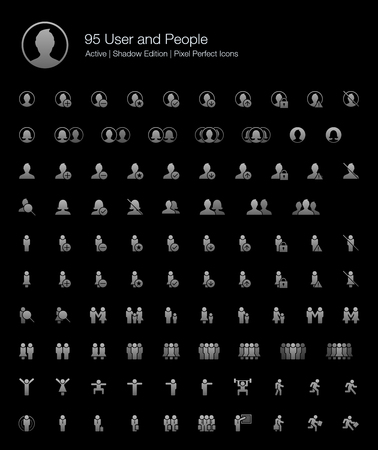 95 User and People Pixel Perfect Icons (Filled Style Shadow Edition). Vector icons for user, avatar, man, people, profile, and human. Çizim
