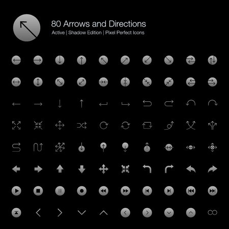 80 Arrows and Directions Pixel Perfect Icons (Filled Style Shadow Edition). Vector icons set of various arrows, directions, and buttons.