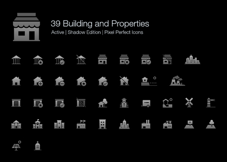 39 Building and Properties Pixel Perfect Icons (Filled Style Shadow Edition). Vector building icons of house, shop, factory, school, government, garage, hospital, land, and more. Vectores