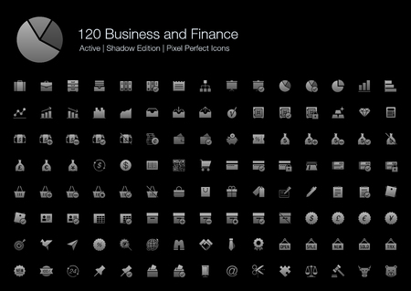 120 Business and Finance Pixel Perfect Icons (Filled Style Shadow Edition). Vector icons set of business, office, financial, commercial, and analytic. Çizim