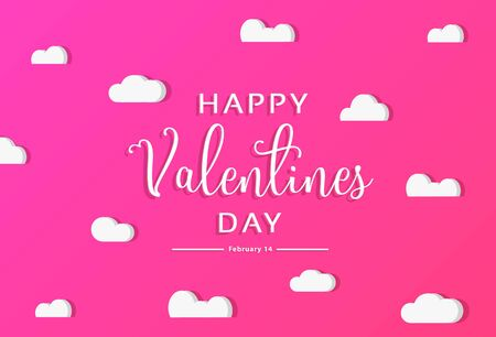 Valentines Day modern craft design. Contain red hearts and clouds are holding by sting on Lovely light rose background. Vector illustration Ilustrace