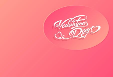 Valentines Day modern craft design. Contain white ribbon text design circle on lovely light rose background. Vector illustration Ilustrace