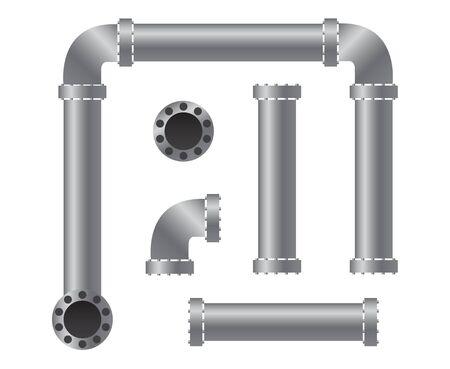 Colección de piezas de tuberías. Ilustración vectorial para cualquier diseño.