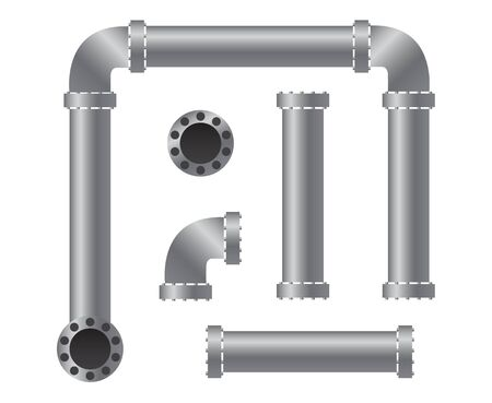 Pipes parts collection. Vector illustration for any designs