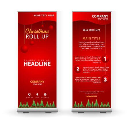 Modern Christmas Roll-UP banner template design. Vector illustration