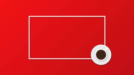 Coffee cup on red background. Flat lay, top view, copy space, frame. Vector illustration
