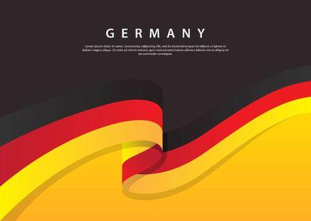 Germany Flag Flowing. Germany flag on Black background. Vector illustration template