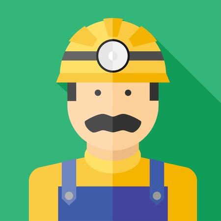 mine lamp: Vector flat profession miner colorful icon.
