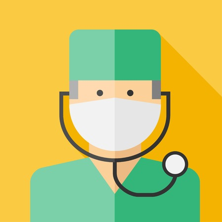 surgeon mask: Vector profesi�n plana m�dico colorido icono. Vectores