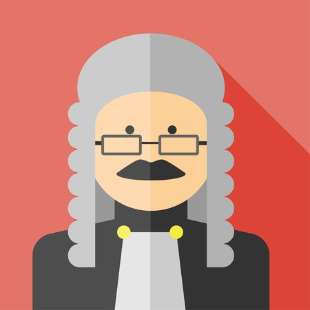supreme court: Vector flat profession judge colorful icon.  Illustration