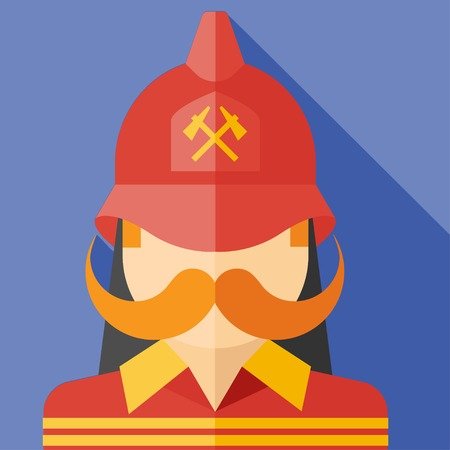 profession: Vector flat profession firefighter colorful icon.  Illustration