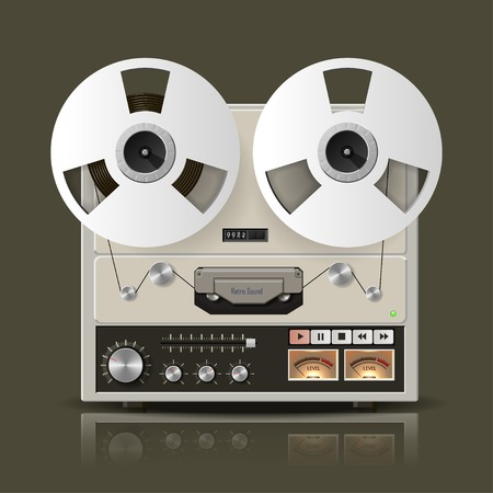 audiophile: Vector retro reel tape recorder illustration.
