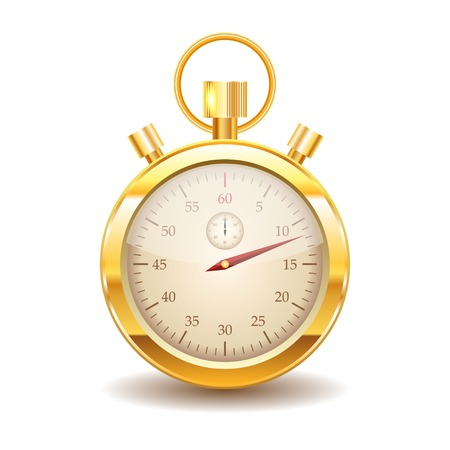 time clock: Vector gold stopwatch on white background.