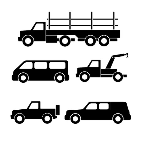 sprinter van: Set of car silhouettes isolated on white. Vector illustration