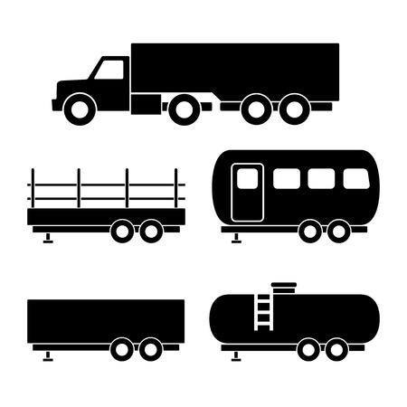 sprinter van: Set of transport black icons. Vector illustration Illustration