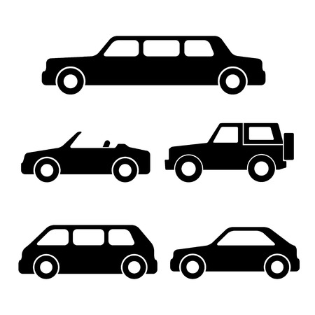Set of car silhouettes isolated on white. Vector illustration