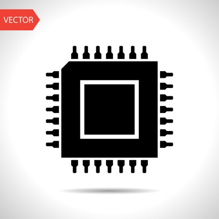 electronic components: icon of microchip