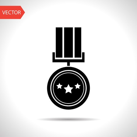honour: Award Icon with ribbons and stars icon on white background, vector illustration