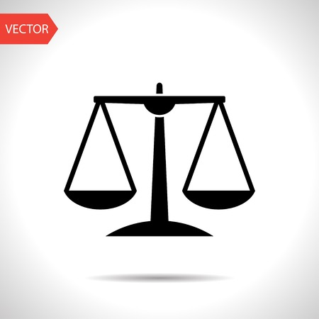 justice legal: Black Justice scale icon on white background Illustration