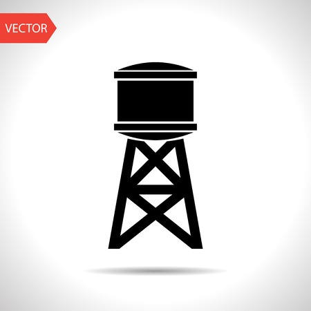 Industrial construction with water tank. Vector illustration Çizim