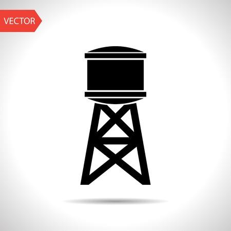 wasser: Industriebau mit Wassertank. Vektor-Illustration
