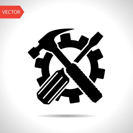 martillo: Herramientas de destornillador y martillo cruzados, vector