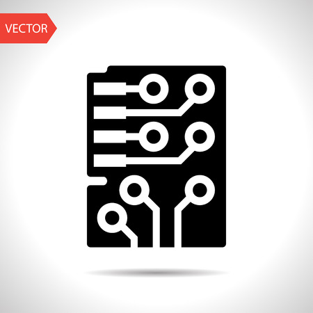 Web icon of microchip, vector design