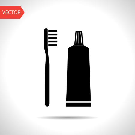 toiletry: Toothbrush and toothpaste icon