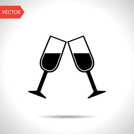sektglas: Zwei Gläser Wein oder Champagner icon Illustration